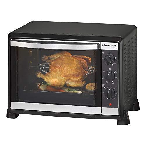 ROMMELSBACHER Back & Grill Ofen BG 1550 - 30 Liter Backraum, 7 Heizarten, Umluft, Drehspieß, Temperaturen von 80 - 230 °C, Doppelverglasung, Innenbeleuchtung, Zeitschaltuhr, 1550 W, schwarz