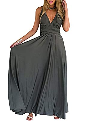 Soft and stretchy fabric, more than 24 different ways to wear, have fun trying it on. You can wear it as halter evening dress, tube dress, spaghetti strap dress, one shoulder dress, off the shoulder maxi dresses etc. Comfy wrinkle free dressy garment...