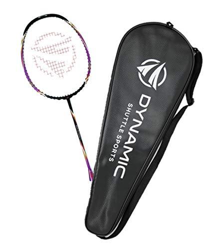 Dynamic Shuttle Sports Titan G-Force 7 Professional Carbon Fiber Badminton Racquet, Lightweight Badminton Racket Including Cover (Purple)