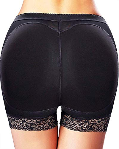 Butt Lifter Hip Enhancer Pads Underwear Shapewear Lace Padded Control Panties Shaper Booty Fake Pad Briefs Boyshorts (Black, S)