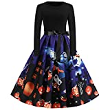 ZEFOTIM Womens Halloween Long Sleeve Round Neck Casual Printed Flared Party Dress(Blue,Small)
