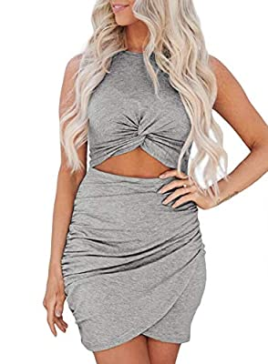 Features:Solid design,Hollow-out,front twist,bodycon wrap dress Summer mini dress, casual dress features with bodycon, short sleeve, hollow out and ruched. Unique - Hollow out design with soft fabric shows your charming taste,slim style beautify your...