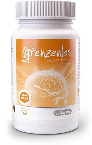 grenzenlos® Brain Booster⁵ - koffeinfreie Konzentrations-Tabletten⁵ mit Bacopa & B5¹ für Dein Gedächtnis - geistige Leistung durch Eisen² & B5¹ unterstützen - Markenprodukt mit 90 Kapseln - 100% vegan