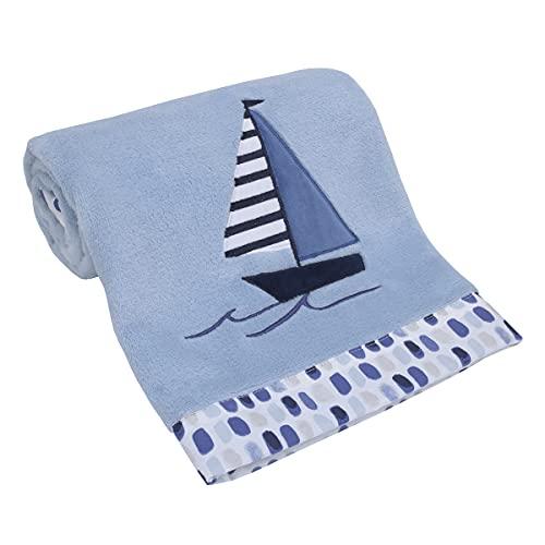 Nautica Nautical Adventure Blue Super Soft Coral Fleece Sailboat Baby Blanket, Light Blue, Navy, Grey, White