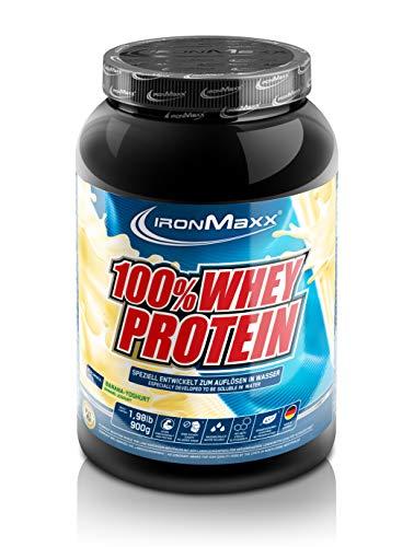 IronMaxx 100% Whey Protein Pulver, wasserlöslich, Banane-Joghurt Geschmack, 1x 900 g Dose