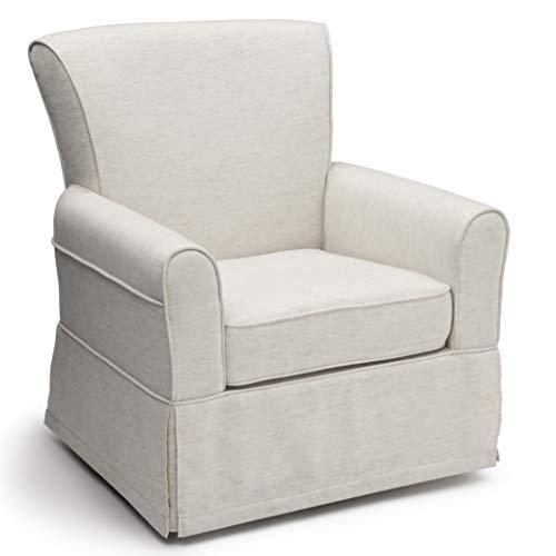 Delta Children Upholstered Glider Swivel Rocker Chair, Sand