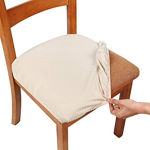 Amazon Com Smiry Seat Covers For Dining Room Chairs Stretch Jacquard Dining Room Chair Seat Covers Set Of 2 Beige Home Kitchen