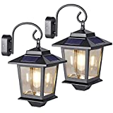 Metal Solar Lanterns Outdoor Waterproof, Hanging Solar Lights Outdoor with Wall Mount Hook, Solar Powered Sconce Lights Decorative Porch Patio Barn Fence, Warm White 20 Lumen (2 Pack)