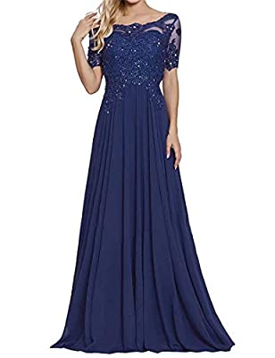 Fabric :chiffon material, Short Sleeves, Scoop Neck neckline,Floor-Length Dress,Lace,Appliques,Beading A Line Appliques Lace Chiffon Long Prom Dresses Long Sleeves Short Sleeves Plus Size Mother of The Bride Groom Dresses Long Sleeves Occasion: Forma...