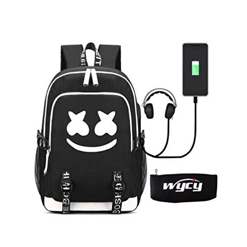 WYCY Zaino luminoso per scuola Zaino grande volume 36L con porta di ricarica USB e linea audio Borsa per libri scolastici unisex Zaino con custodia per penna a matita luminosa (Marshmello)