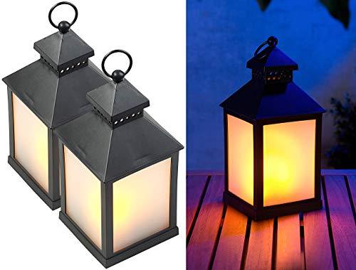 Lunartec Laternen mit LED Licht: 2er Pack LED-Laterne mit realistischem Flammenspiel und Timer (Geburtstag Atmosphäre Decor Fackel)