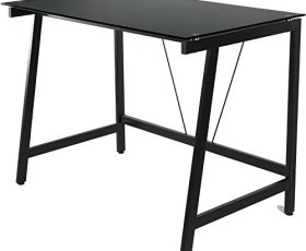OneSpace Contemporary Glass Writing Desk, Steel Frame, White and Cool Blue
