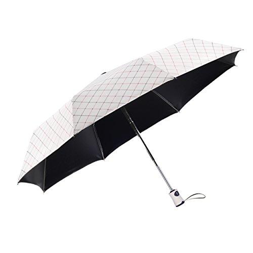 rainbrace UV Sonnenschirm Compact Folding Travel Regenschirm Auto öffnen und schließen für winddicht, regendicht & 99{9cc364384106ad5d4db2954c93c89657a5d78fd24a6455712d4a5819a6c24fb1} UV-Schutz Sonnenschirm mit Schwarz UV Beschichtung, LSF 50+, elegant weiß