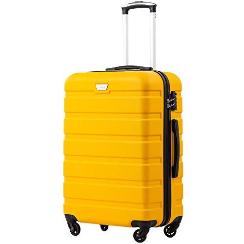 COOLIFE Hartschalen-Koffer Trolley Rollkoffer Reisekoffer mit TSA-Schloss und 4 Rollen (Gelb, Handgepäck)