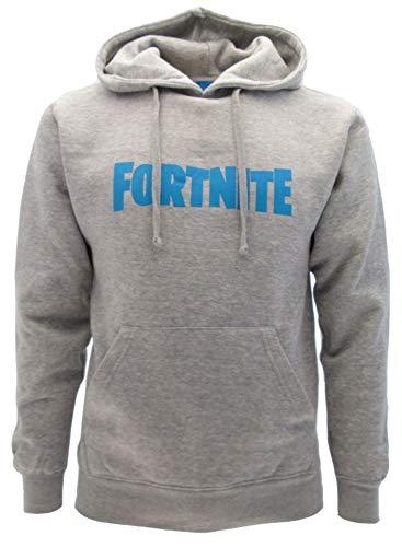 Sudadera de Fortnite original gris, con texto azul, logotipo con capucha, para adulto y niño, producto oficial, Hombre, Sudadera con capucha, gris, M