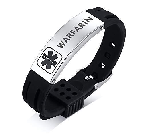 PJ JEWELLERY WARFARIN Silicone Comfort Sport Wristband Emergency Medical Alert ID Bracelet for Men Women Kid