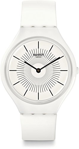 Swatch Unisex Erwachsene Digital Quarz Uhr mit Silikon Armband SVOW100