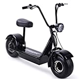 Fatboy 800w Rear Hub Motor Electric Scooter with Seat and 15' Pneumatic Tires, Cruiser Scooter with Large Headlight, Max Capacity 250 lbs, Front and Rear Brakes