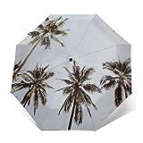Paraguas automático triple plegable 3D exterior impreso palmeras Chiang Mai Tailandia resistente al viento protección UV paraguas para uso diario
