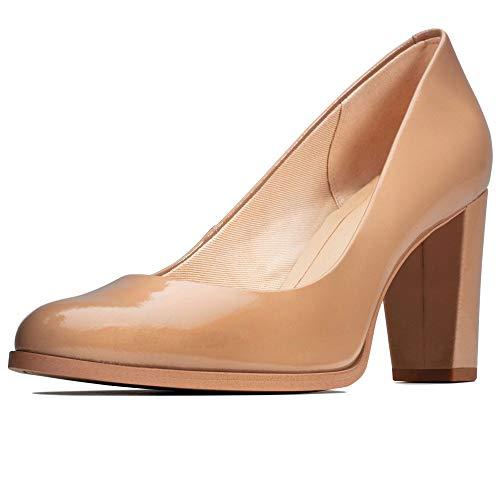 Clarks Kaylin Cara, Zapatos de Tacón Mujer, Beige (Praline Patent Praline Patent), 38 EU