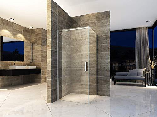 Duschkabine 90x90 cm Eckdusche Duschabtrennung Dusche Pendeltür Duschtür Schwingtür Duschwand ESG Sicherheitsglas NANO-Beschichtung