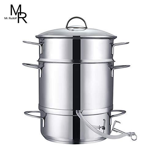 Mr. Rudolf 26cm 11-Quart Stainless Steel Fruit Juicer Steamer Multipot, Silver