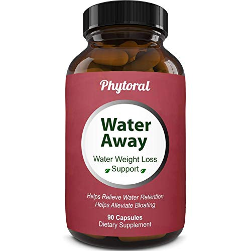 Water Away Diuretic Pills - Natural Water Weight Loss Support for Men and Women Fast Acting Bloating Swelling Relief Supplement - Pure Vitamin B6 Dandelion Green Tea Extract 90 Capsules by Phytoral 8