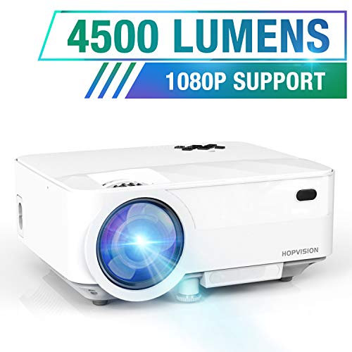 HOPVISION Mini Proiettore 1080P Full HD,Video Proiettore Portatile 4500 Lumen con Display da...