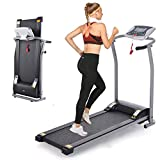 Folding Treadmill, Electric Running Machine with LCD Monitor Motorized Walking Running Machine Equipment for Home Gym (Light Silver)