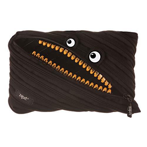 ZIPIT Grillz - Astuccio grande per ragazzi per contenere fino a 60 penne, lavabile in lavatrice, realizzato in una cerniera lunga, nero (ZTMJ-GR-MB)