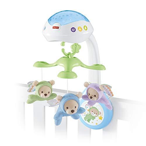 Mattel Fisher-Price Vlinderdromen 3-in-1 mobiel | Met projector voor sterrenlichtshow op wanden en plafond | Keuze uit 3 geluidsstanden | Afstandsbediening | 4 AA batterijen | Voor 0-5 maanden