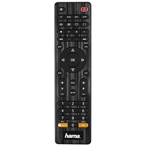 Hama Universal Fernbedienung 4-in-1 Smart TV (bis zu 4 Geräte steuern, über 1000 Marken vorprogrammiert, TV/DVD/STB/VCR) IR Multifunktionsfernbedienung Ersatzfernbedienung, schwarz