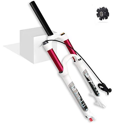 LvTu Bicyclette VTT Fourche Avant Vélo Air 26 27.5 29 Pouces, Ultraléger Alliage De Magnésium Vélo De Montagne Fourche À Suspension Tube Droit/Conique pour 1.5-2.45' Pneus