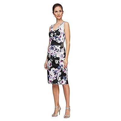 "Short Sleeveless Printed Stretch Crepe Sheath Dress Flattering Surplice Neckline, Bra Friendly Embellished Hip Detail and Cascade Skirt Center back length: 34. 25"" Style #8160213"