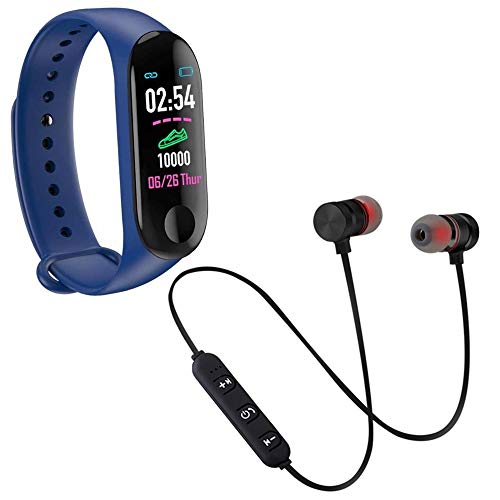 Kmnic M2 Wristband Connected GPS Tracker Step Counter Sleep Monitor Stopwatch with t6 Bluetooth Headset & Mic Sweatproof Sports Running Headset Support for All Smartphones (Assorted Colour)