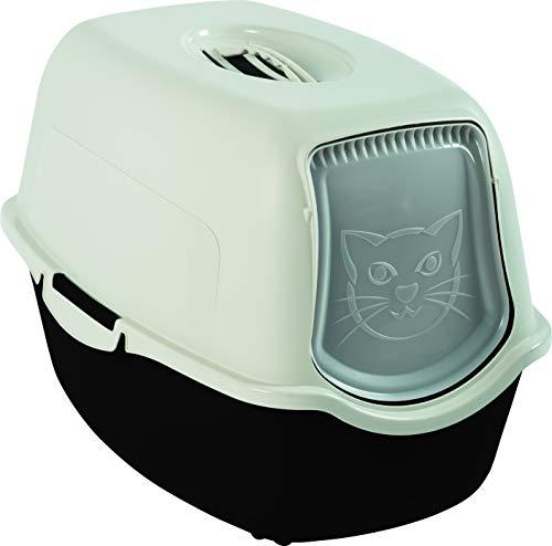 Rotho kattenbak met kap en deur | Gemakkelijk schoon te maken met geurremmend actief koolstoffilter | Kunststof | Grootte (LxBxH) 55,5 x 40 x 38,7 cm