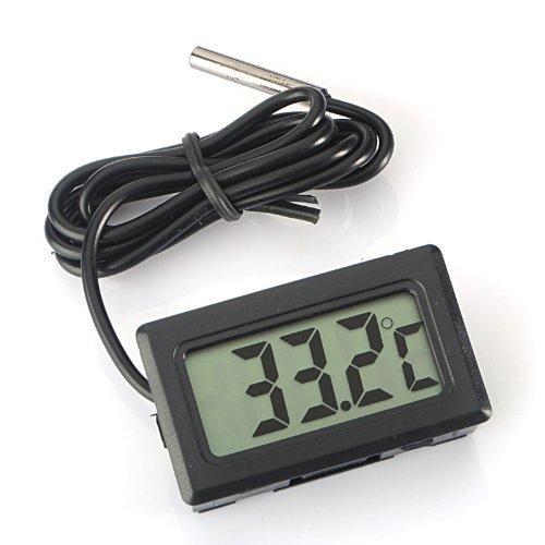 ARCELI Digital LCD Thermometer Temperaturüberwachung mit externer Sonde für Kühlschrank Gefrierschrank Kühlschrank Aquarium - schwarz