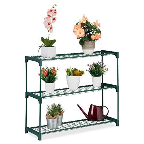 Relaxdays Pflanzenregal, 3 Ablagen, für Blumen-& Pflanzentöpfe, Indoor, Metall & Kunststoff, HBT 74,5x91x28,5 cm, grün, 1 Stück