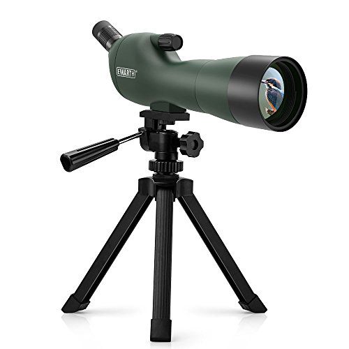 Emarth Telescopio Terrestre 20-60x60 Spotting Scope Impermeable a Prueba de Niebla 45 Degree Ocular en ángulo con trípode