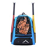 Himal Outdoors Baseball Bag - Baseball Backpack for Youth and Adults, Softball Equipment Bags with Shoe Compartment and Fence Hook Hold Bat,Helmet,Glove and Shoes.(Blue)
