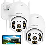 SoulLife Security Camera Outdoor, 1080P HD Home Surveillance IP Camera with Pan/Tilt Waterproof Night Vision 2-Way Audio Motion Detection Activity Alert, Support Max 128G Micro SD Card, 2 Pack, White