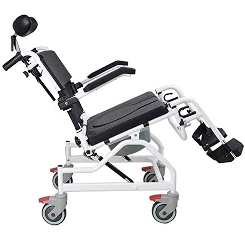 RR-YRL Tilting Shower Toilet Chair, Personal Mobility Assisted Toilet, Wheeled Shower Chair, Shower Transport Chair, Suitable for Pregnant Women, Elderly and Disabled