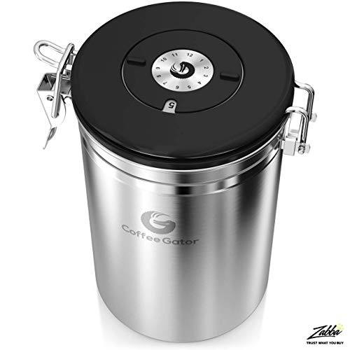 Product Image 7: Coffee Gator Stainless Steel Coffee Grounds and Beans Container Canister with Date-Tracker, CO2-Release Valve and Measuring Scoop, Large, Silver