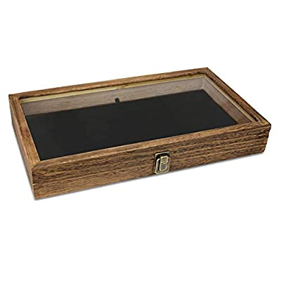 WOODEN DISPLAY CASE - This display case is ideal for storing earrings, rings, beads, pins, bracelets, necklaces, brooches, medal and more. TEMPERED GLASS LID - A display box featuring tempered glass lid which allows you to view the items inside the b...