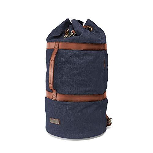 DRAKENSBERG Seesack, Reisetasche und Rucksack, groß, handgepäck-tauglich, Kimberley-Duffel-Bag, 66 L, Jeans-Stoff und Echt-Büffel-Leder, Denim-blau, DR00112