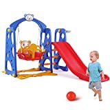 LAZY BUDDY 4 in 1 Kids Slide Swing Set, Toddler Climber Playground, Sturdy Baby Slipping Slide Toy for Home and Backyard Use, with Ball and Rack (Blue and Red)