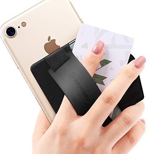 Sinjimoru スマホスタンド カード入れ、落下防止 ハンドストラップ どこでも楽に動画 視聴できるレザースタンド、クレジットカード SUICAカードが収納できる 手帳型 カードホルダー。シンジポーチB-GRIP (B-GRIP Silicone, ブラック)