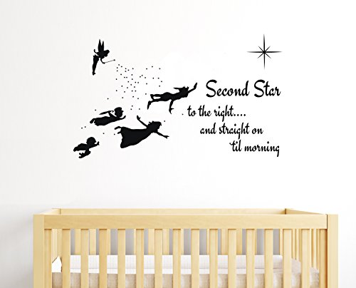 e-Graphic Design Inc Second Star to The Right - Peter Pan Tinkerbell Wendy & Kids - Baby Girl Boy Unisex Room - Mural Wall Decal Sticker for Home Car Laptop (Wide 22