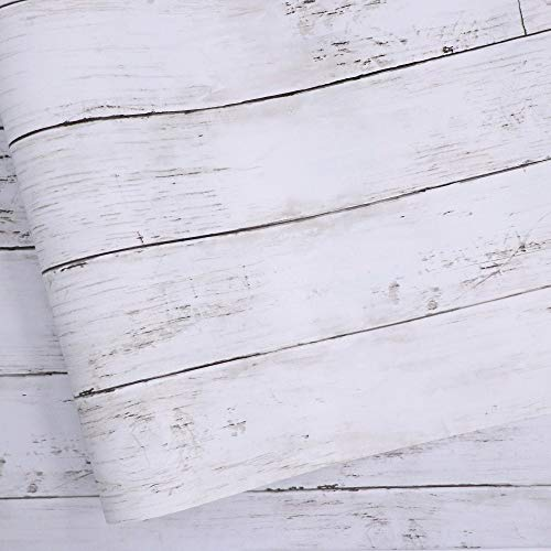 White Gray Wood Paper 17.71 in X 118 in Self-Adhesive Removable...