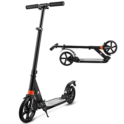 Hikole Scooters for Adults Teens, Kick Scooter with Adjustable Height Dual Suspension and Shoulder...